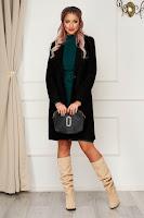 Palton SunShine negru office din stofa cu un croi drept
