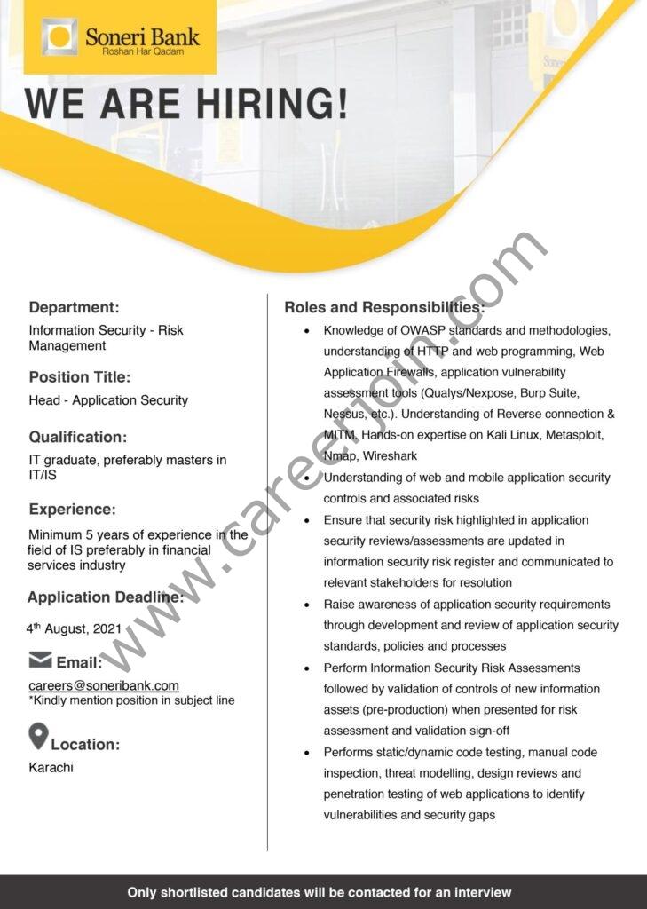 Soneri Bank Ltd Jobs Head Application Security