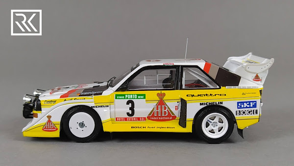 Zdjęcie modelu Spark Audi Sport Quattro S1, Walter Rohrl & Christian Geistdorfer, Rallye de Portugal 1986, edycja limitowana dla Rallye-Fanshop 1 z 300