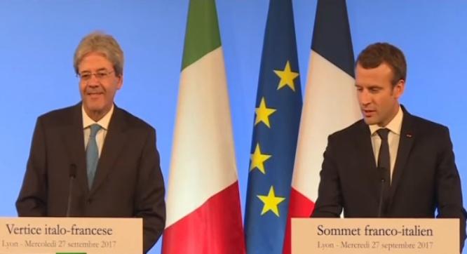 Conférence de presse conjointe du président Macron et Gentiloni à l'issue du sommet franco-italien à Lyon