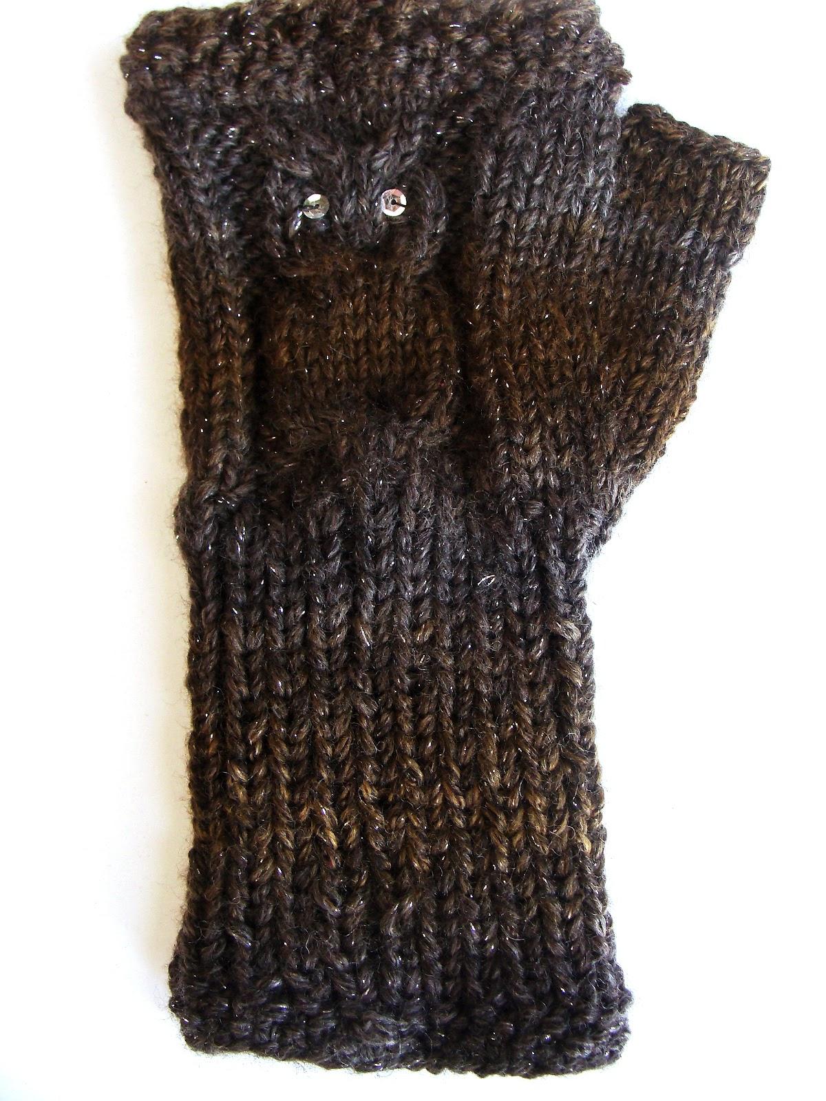 Contemporary Owl Fingerless Gloves Knitting Pattern Crest - Great ...