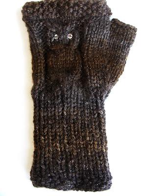 Knitted Owl Fingerless Gloves