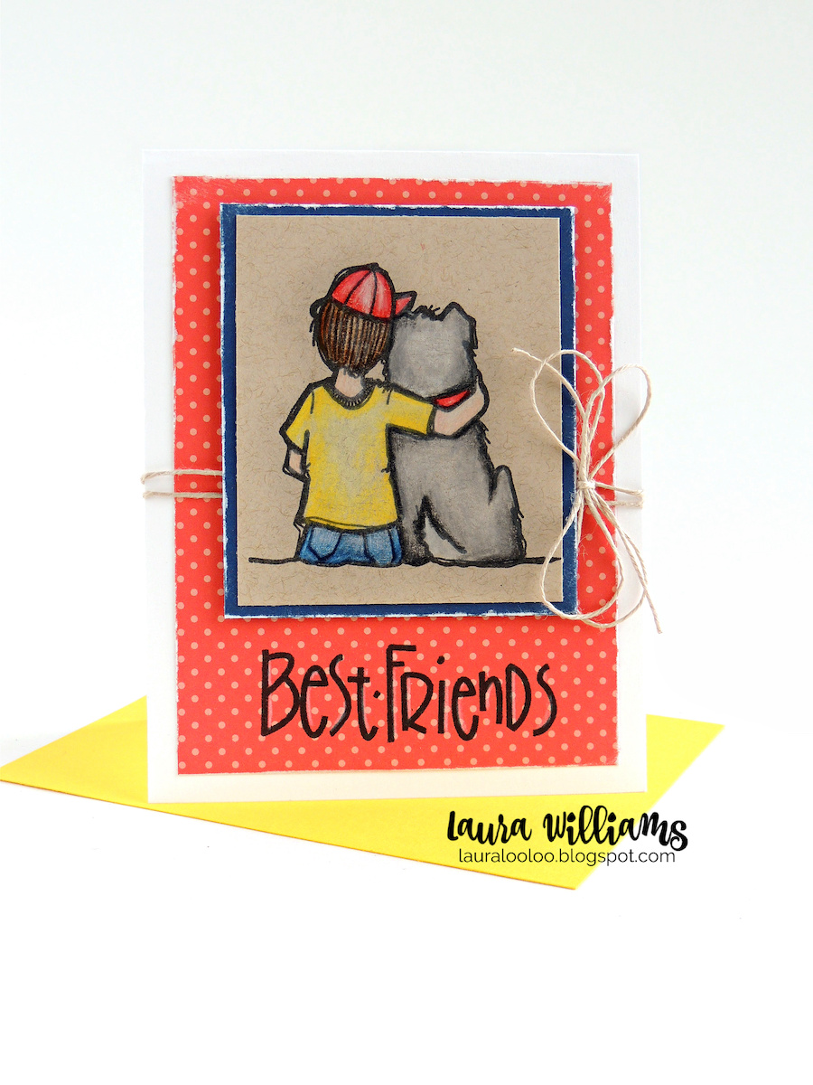 Best Friends Handmade Card - this sweet card with a stamped image of a boy and his dog is darling for handmade cardmaking and paper crafting projects. I colored this image with colored pencils, and kept the rest of the card super simple. Stop by my blog to see more details plus more cards for friends!