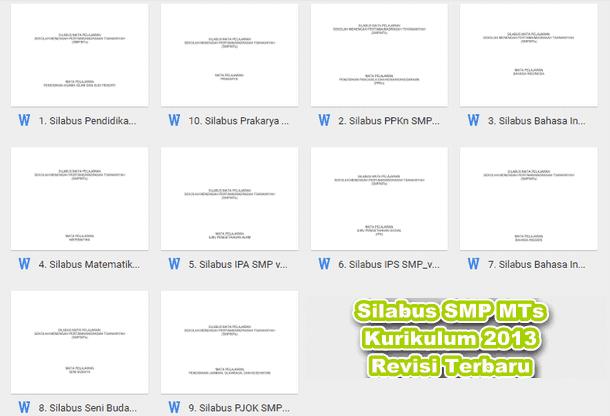 Silabus SMP MTs Kurikulum 2013 Revisi Terbaru