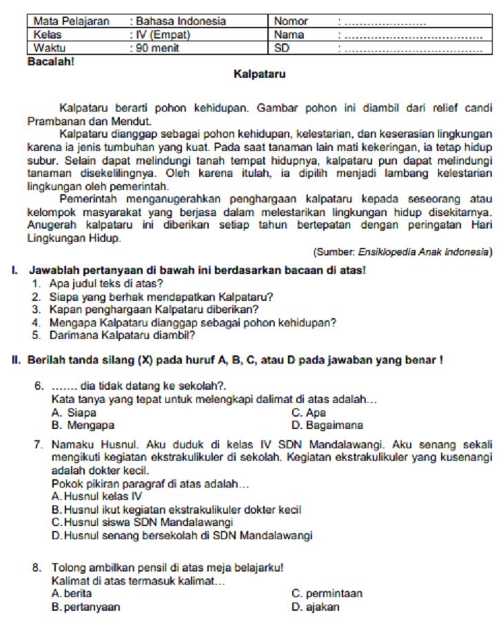 Soal Uts Bahasa Indonesia Kelas 4 Semester 1 Dan Kunci Jawaban : bahasa, indonesia, kelas, semester, kunci, jawaban, BAHASA, INDONESIA, KELAS, SEMESTER, GASAL, SERBA, SERBI