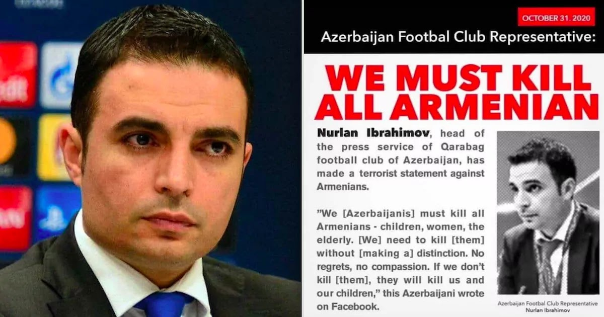Azerbaijani Football Official Banned By UEFA After Saying 'We must kill all Armenians – children, women and the elderly'
