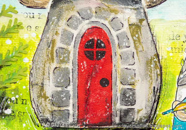 Layers of ink - Gnome Home Mixed Media Canvas Tutorial by Anna-Karin Evaldsson. Gnome house with moss.