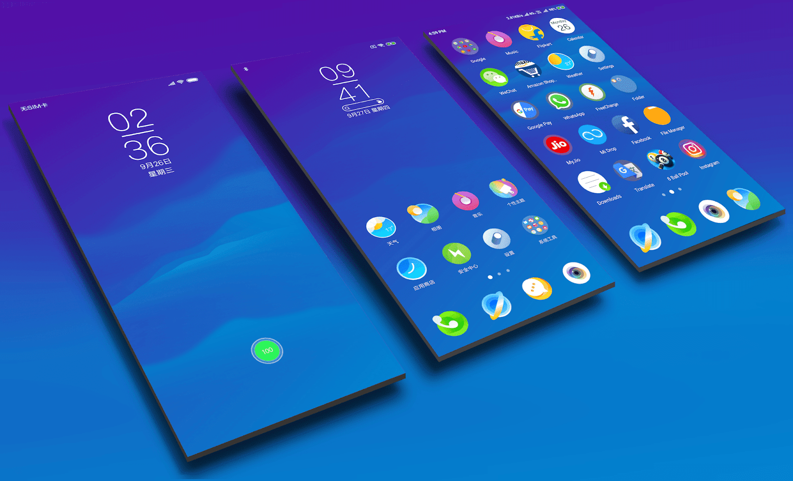 Xiaomi Mi 8 Youth Edition Dream Blue MIUI Theme Download for
