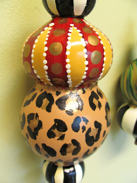 large hand painted finial ornament whimsical animal print