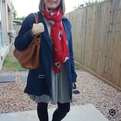 awayfromtheblue Instagram navy macintosh grey skater dress mulberry bayswater bag pop of colour red animal sheep print scarf
