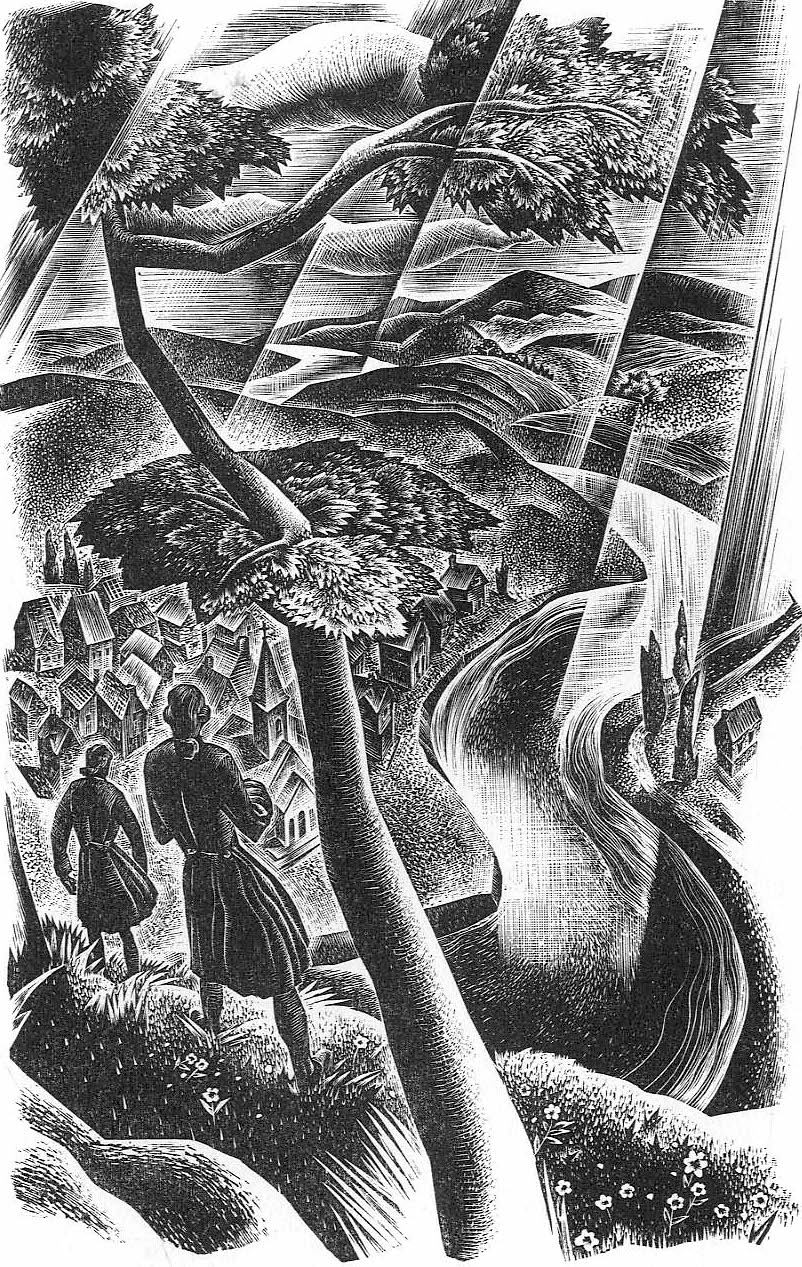 a Lynd Ward illustration of two men overlloking a town from a hill above with radiating sun rays