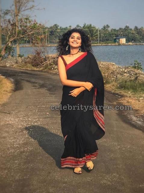 Anupama Parameswaran Black Silk Saree