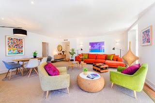 Living room of two-bedroom unit, Martinhal Chiado Family Suites, Lisbon, Portugal