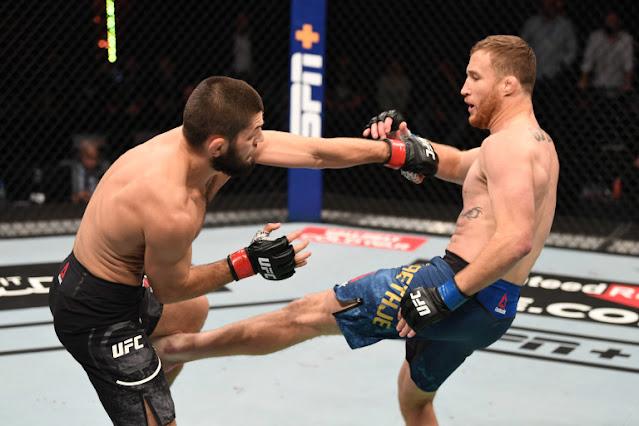 UFC 254 - Justin Gaethje Kicks Khabib Nurmagomedov
