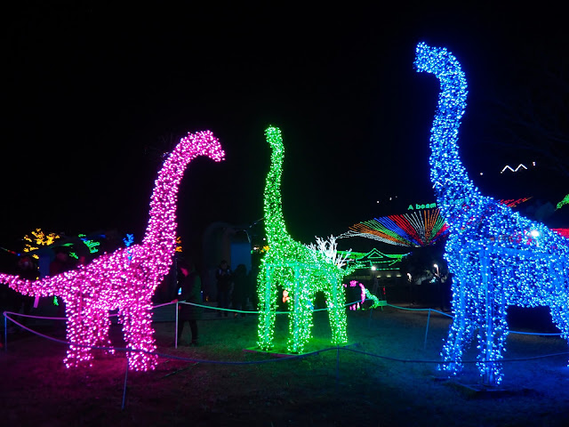 Dinosaur display at the Light Festival at Boseong Green Tea Plantation, South Korea