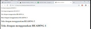 penggunaan teks heading pada html