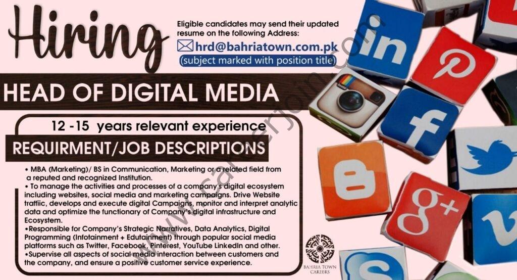 Bahria Town Jobs Head of Digital Media