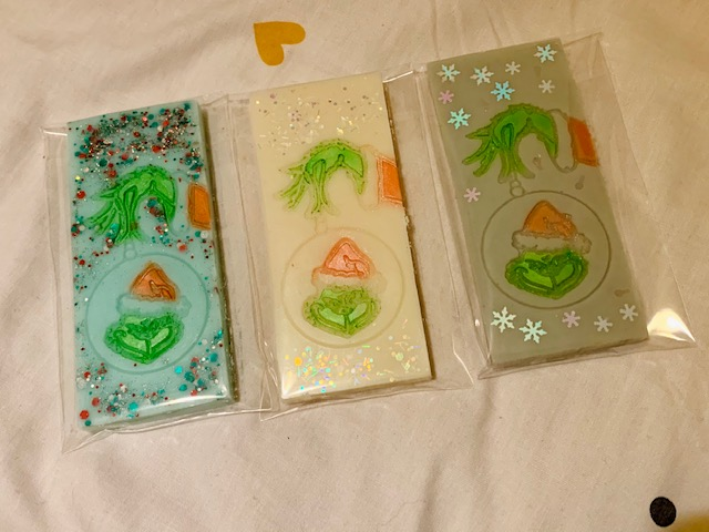 Wax melt snap bars, inspired by The Grinch
