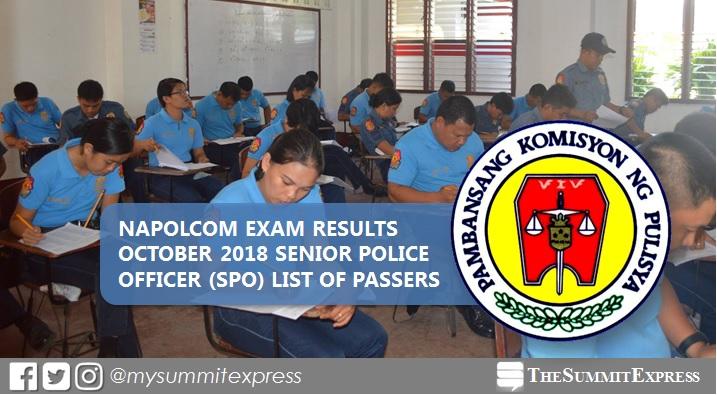 LIST OF PASSERS: Senior Police Officer (SPO) NAPOLCOM Exam Result October 2018