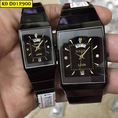 Đồng hồ nam mặt chữ nhật dây đá ceramic đen RD Đ012900