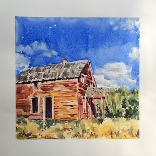 watercolor barn with sky