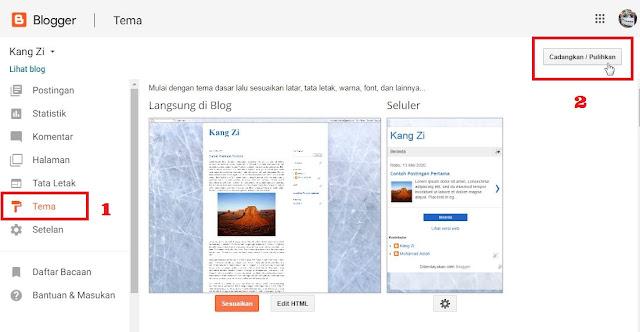 Gambar langkah-langkah mengimport file tema - Tutorial membuat blog dengan bloger