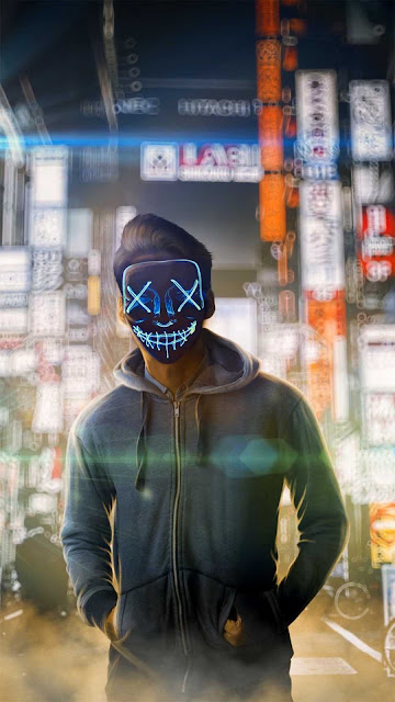 19 Reflection Neon Mask Ultra HD wallpapers 4K for Android and iPhone