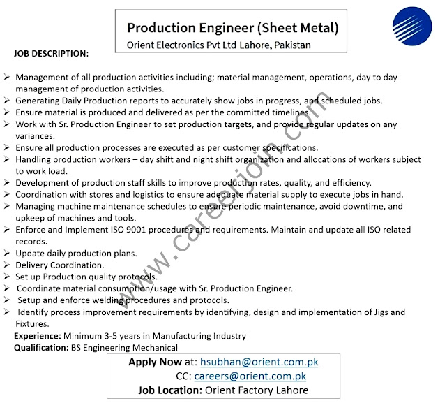 Orient Electronics Private Limited New Jobs for Production  Engineer  2021