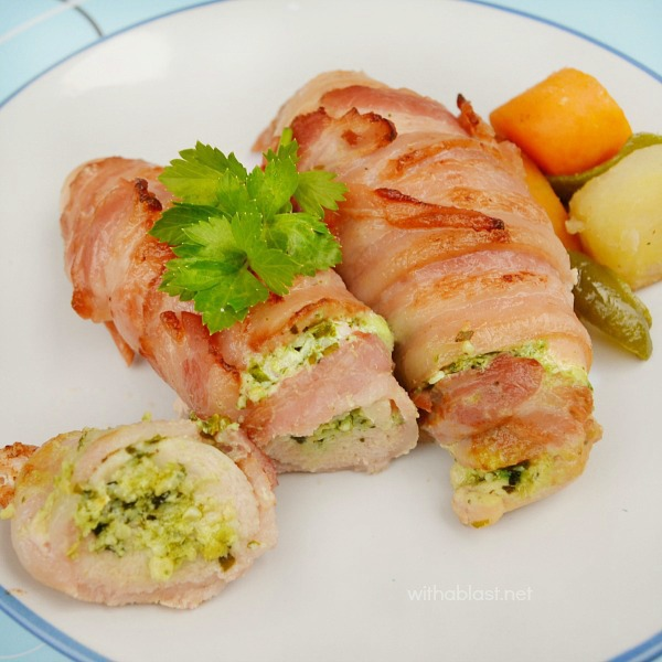 Garlic and Pesto Bacon Chicken ~ Tender, juicy and deliciously Cream Cheese filled Chicken wrapped in Bacon ! Seconds WILL be requested ;-)