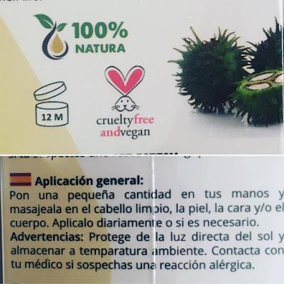 Natura Pur, aceite de almendras, aceite de ricino, vegano, organico, natural, cruetlty free