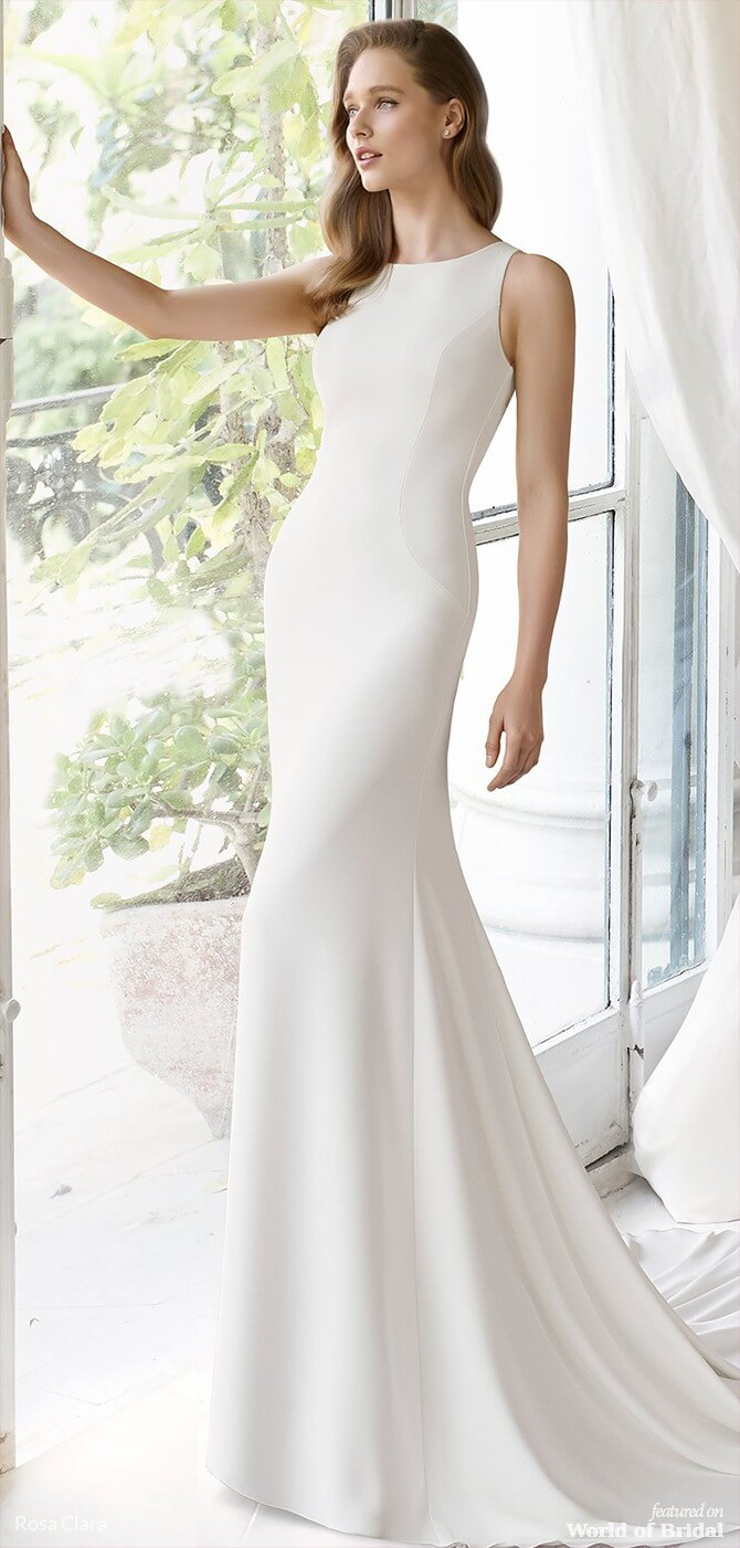 1d5a1c6c6b9a Elegant mermaid-style crepe dress. The wonderful back neckline is the  stand-out feature of this simple design that beautifully celebrates the  female figure.