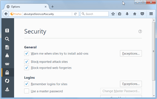 block suspicious sites of firefox