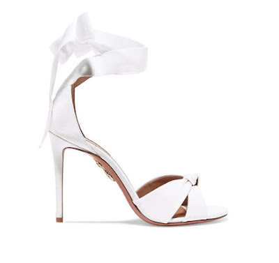 Aquazzura White All Tied Up Grosgrain Sandals