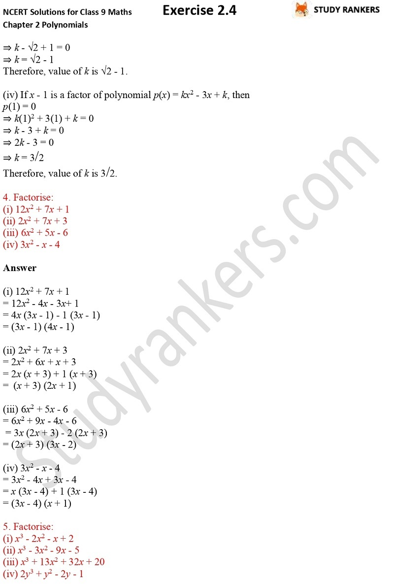NCERT Solutions for Class 9 Maths Chapter 2 Polynomials Exercise 2.4 Part 3