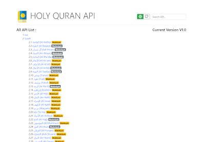 Holy Quran API  6236 Verses 114 Surah 30 Juz dengan PHP 7 dan Codeigniter 3