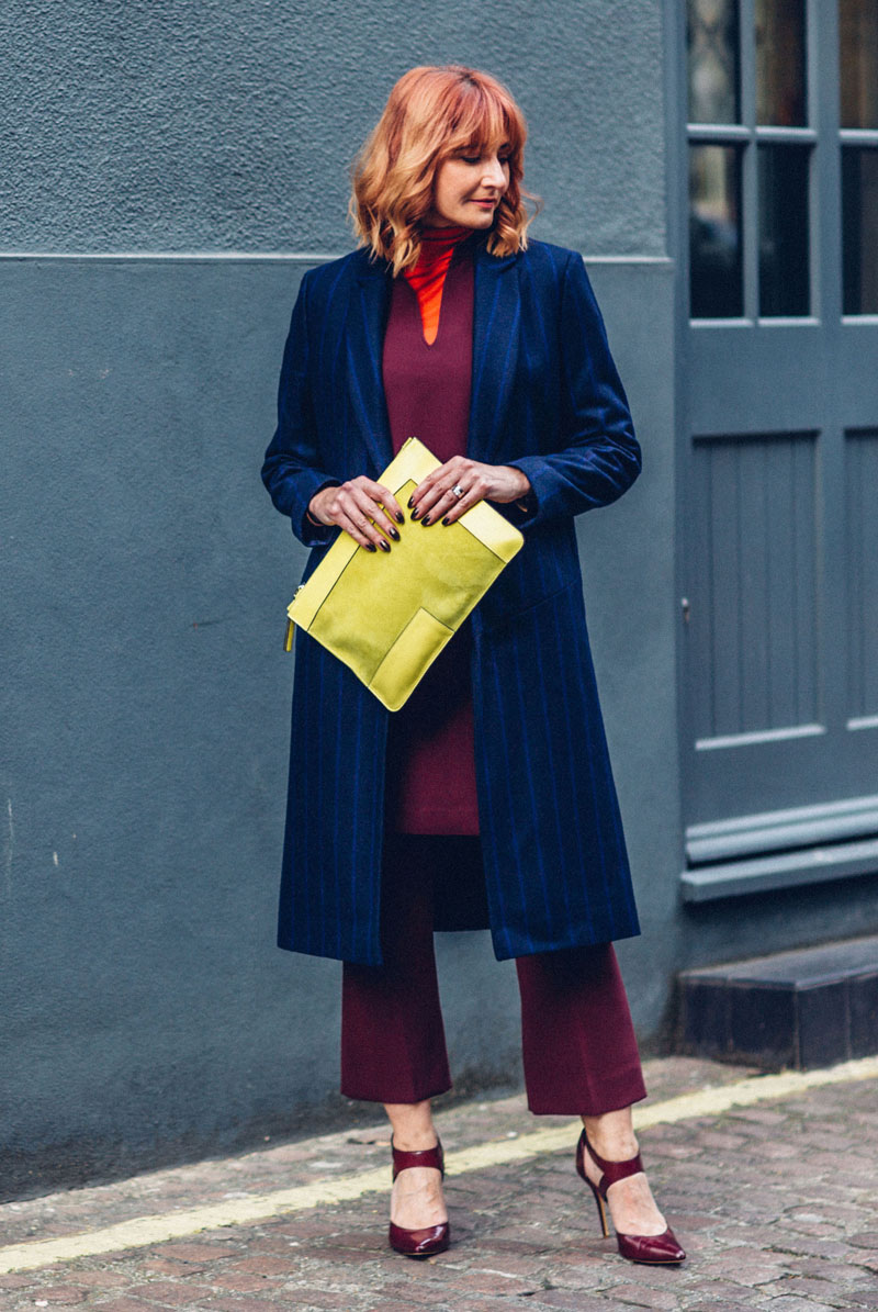 Bold jewel colours Autumn look fall outfit smart winter wear layering Jaeger Longline pinstripe coat, red roll neck, burgundy cocoon dress and cropped flares, yellow suede clutch | Not Dressed As Lamb, over 40 style