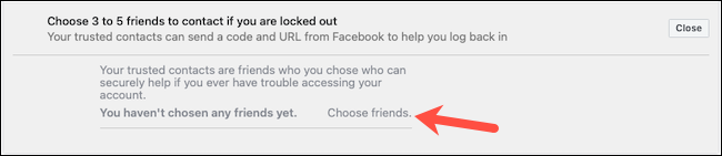 اختر جهات اتصال موثوقة على Facebook