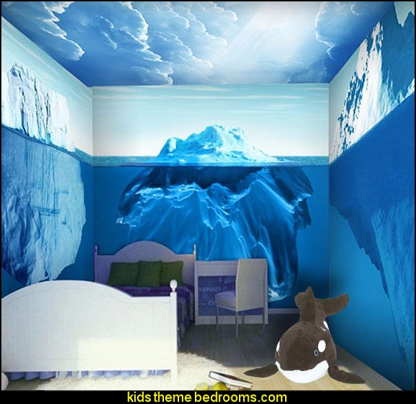 iceberg wallpaper - Antarctic ice penguin murals childrens bedroom  penguin bedrooms - polar bear bedrooms - arctic theme bedrooms - winter wonderland theme bedrooms - snow theme decorating ideas - penguin duvet covers - penguin bedding - winter wonderland party ideas - Christmas