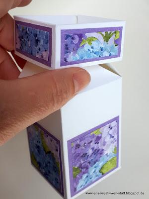 Zauberbox / Impossible Box mit Hortensien-Designerpapier Stampin' Up! www.eris-kreativwerkstatt.blogspot.de