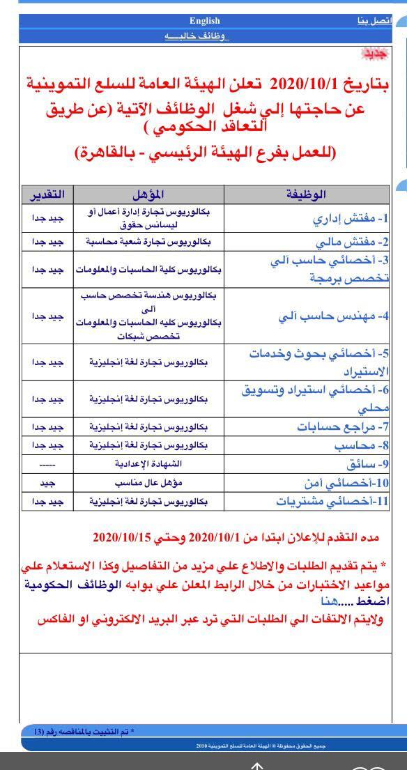 وظائف الهيئة العامة للسلع التموينية تطلب كافة التخصصات والمؤهلات والتقديم حتى 15 / 10 / 2020