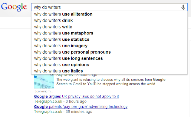 FIVE WRITER QUESTIONS ANSWERED #1: GOOGLE AUTOCOMPLETE SERIES