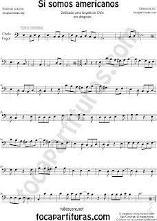 Violonchelo y Fagot Partitura de Si Somos Americanos Sheet Music for Cello and Bassoon Music Scores