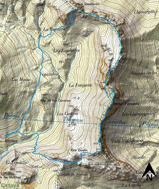 Mapa de la ruta señalizada a Peña Forcada, la Forqueta Norte y Sur y el Pico Socellerón