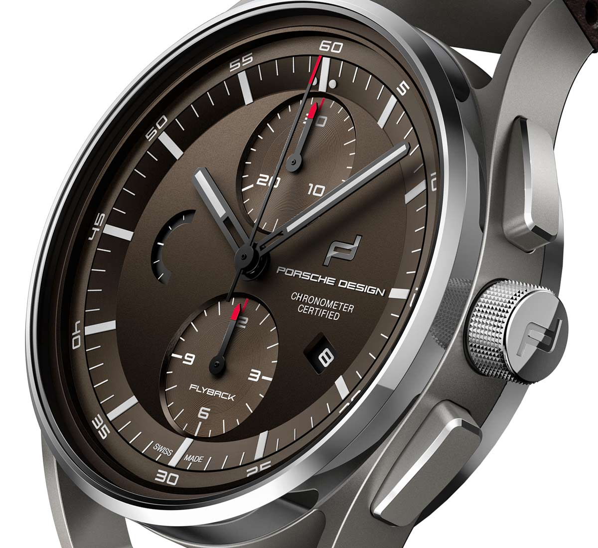 The dial of the Porsche Design 1919 Chronotimer Flyback Brown 650268e254c