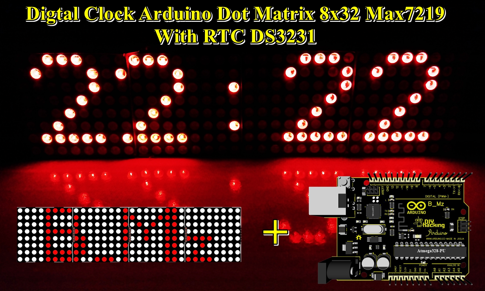 DIY Digital Clock Arduino Dot Matrix 8x32 Max7219 With RTC ...