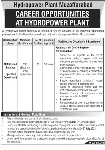 Hydropower Plant Muzaffarabad Jobs 2021 in Pakistan