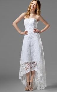 Vestido novia corto adelante largo atras