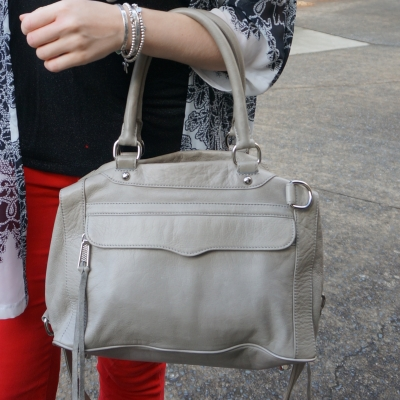 back and white kimono, red skinny jeans, rebecca minkoff soft grey MAB bag | away from the blue