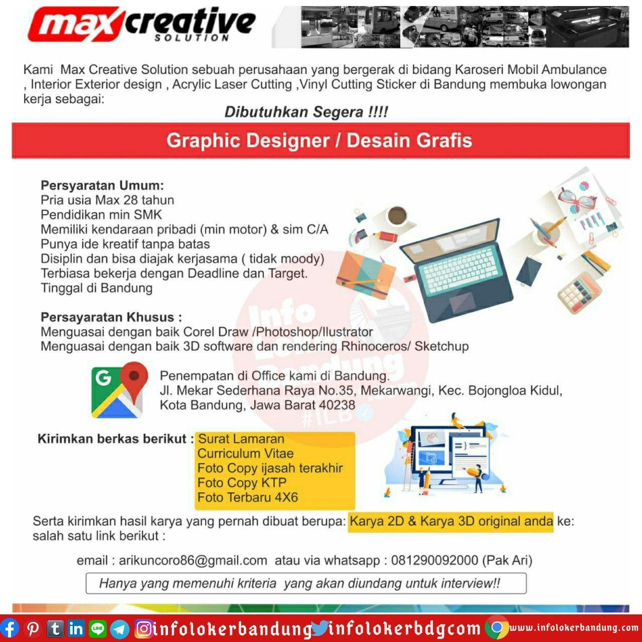 Lowongan Kerja Max Creative Solution Bandung Juli 2020