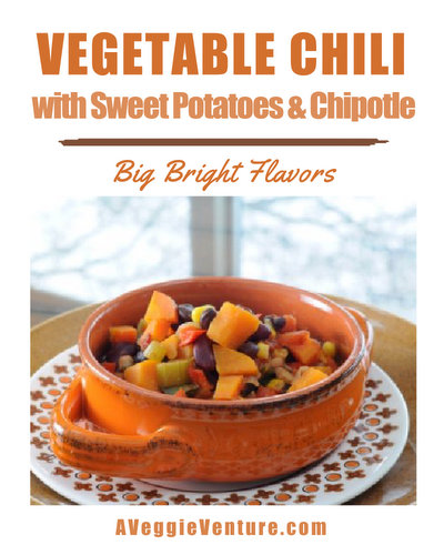 Vegetable Chili with Sweet Potatoes & Chipotle ♥ AVeggieVenture.com, a confetti of colorful vegetables and beans warmed with chili spices.